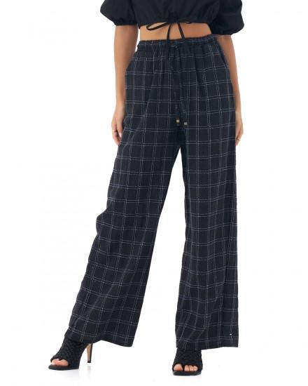 Oralia Pants in Linen Square Navy/Black
