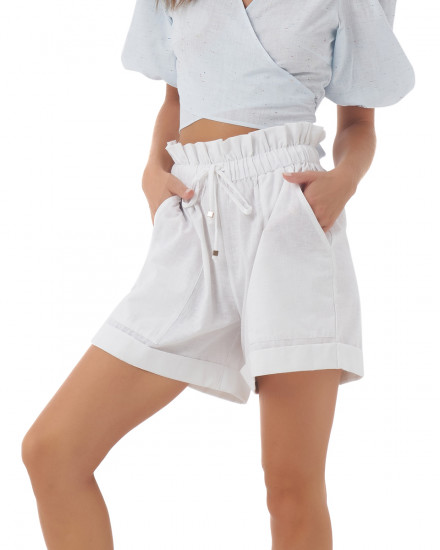 Cameo Shorts in Linen White