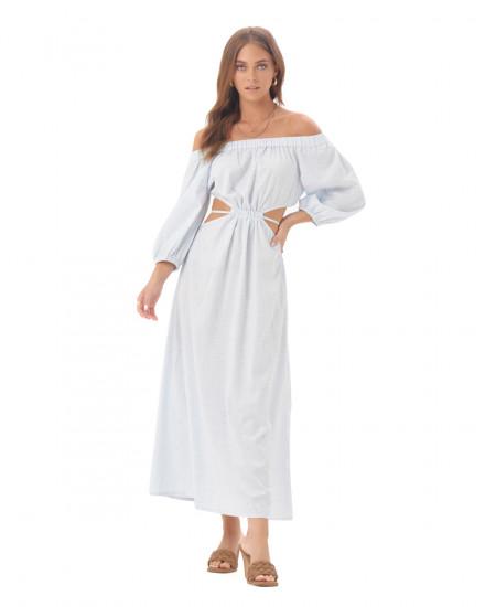 Tahira Dress in Linen Splatter Powder Blue