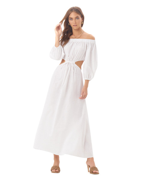 Tahira Dress in Linen Splatter Powder White
