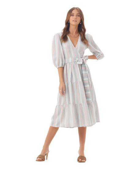 Zendaya Dress in Linen Rainbow Stripes