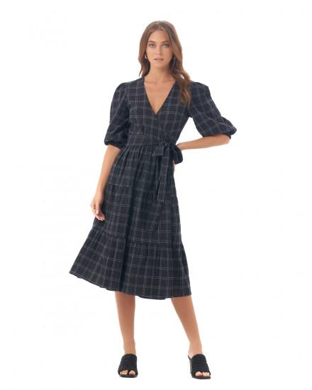 Zendaya Dress in Linen Square Navy/Black