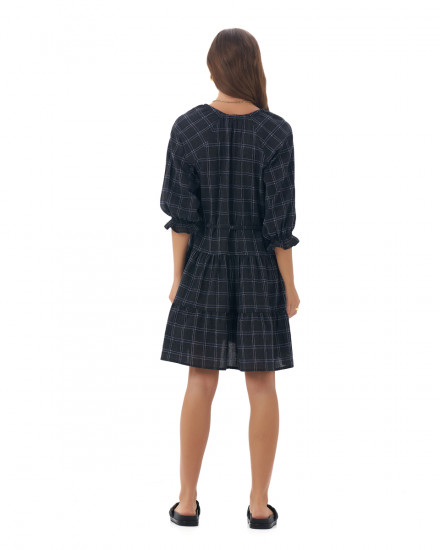 Amas Dress in Linen Square Navy/Black