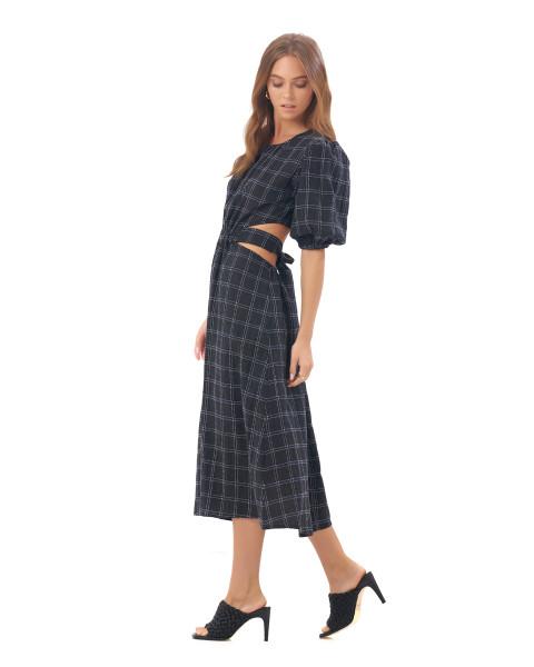 Carlotta Dress in Linen Square Navy/Black