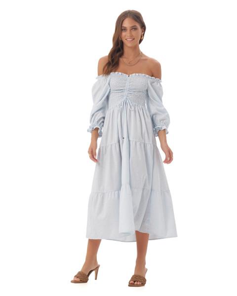 Femke Dress in Linen Splatter Powder Blue