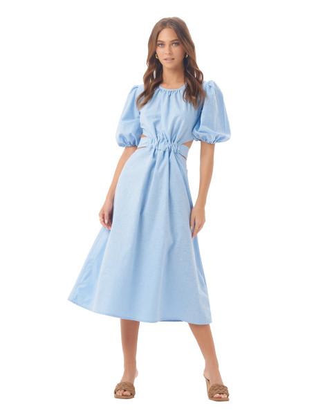 Carlotta Dress in Linen Sky Blue
