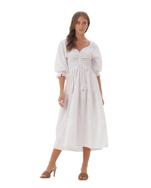 Femke Dress in Linen Splatter White