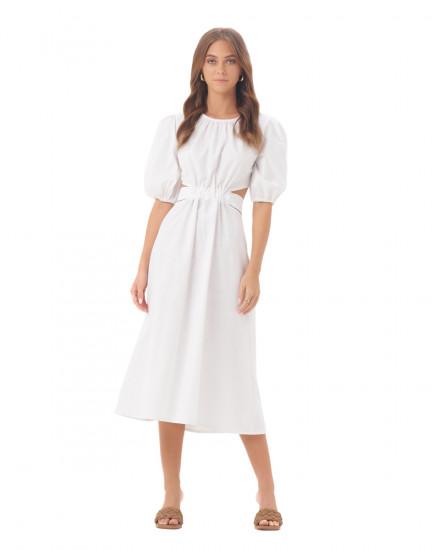 Carlotta Dress in Linen White