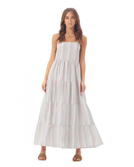 Marilla Dress in Linen Rainbow Stripes