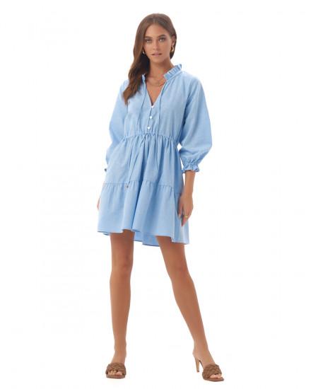 Adonnia Dress in Linen Sky Blue