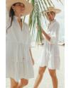Mona dress in Linen Splatter White