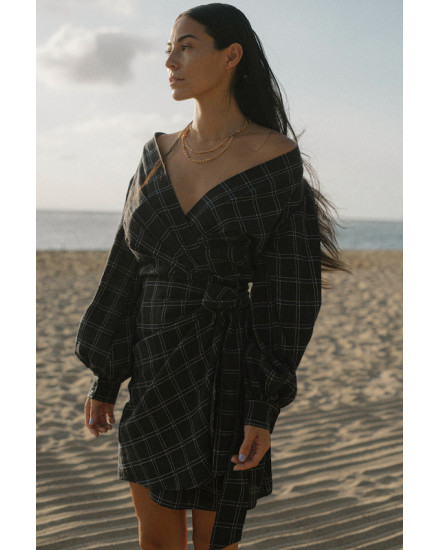 Marla Dress in Linen Square Navy/Black