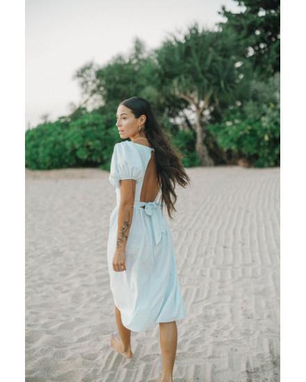Osanna Dress in Linen Splatter Powder Blue
