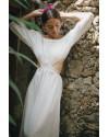 Tahira Dress in Linen Splatter White