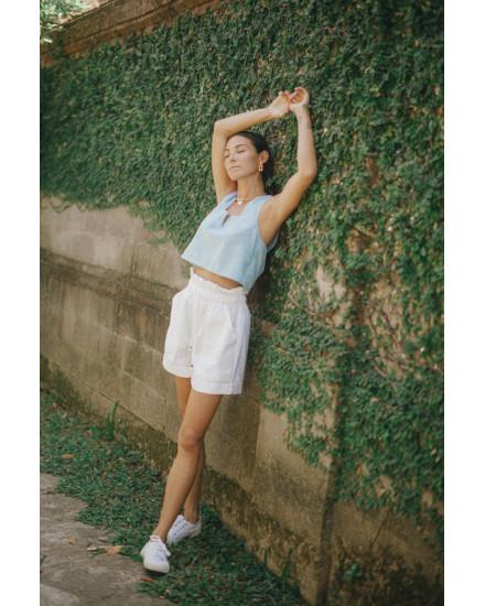 Faye Top in Linen Sky Blue